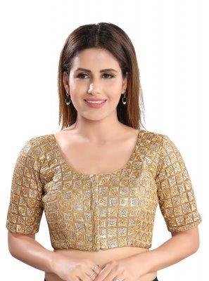 Cream Mehndi Net Designer Blouse
