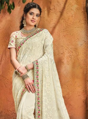 Cream Patch Border Georgette Classic Designer Saree