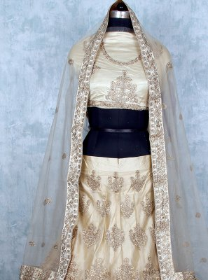 Cream Patch Border Mehndi Lehenga Choli