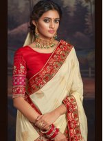 Cream Patch Border Traditional Saree