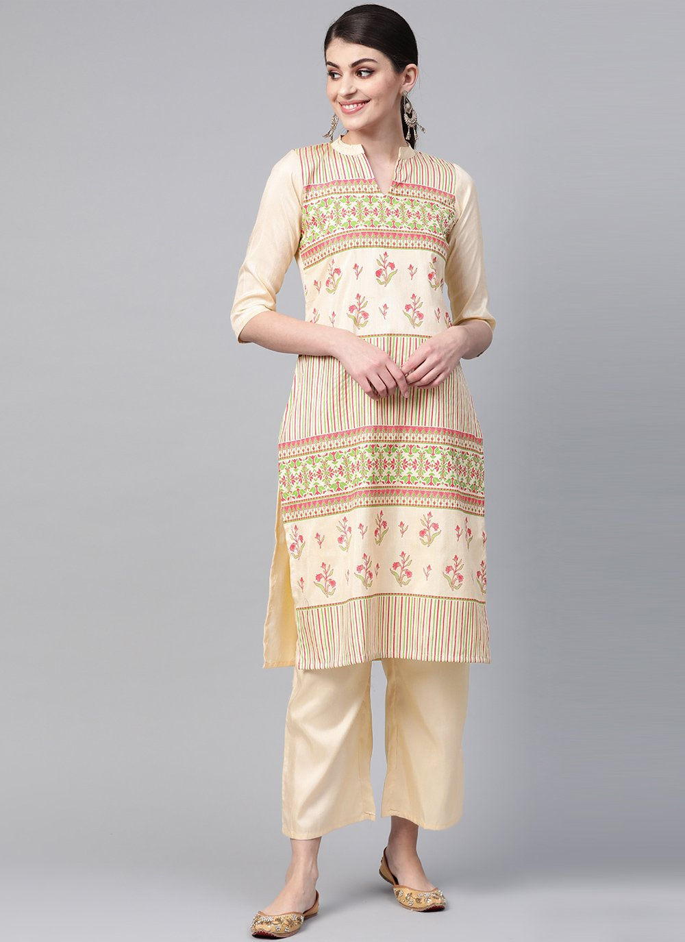 Cream Poly Silk Party Wear Kurti