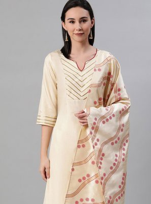 Cream Poly Silk Print Bollywood Salwar Kameez