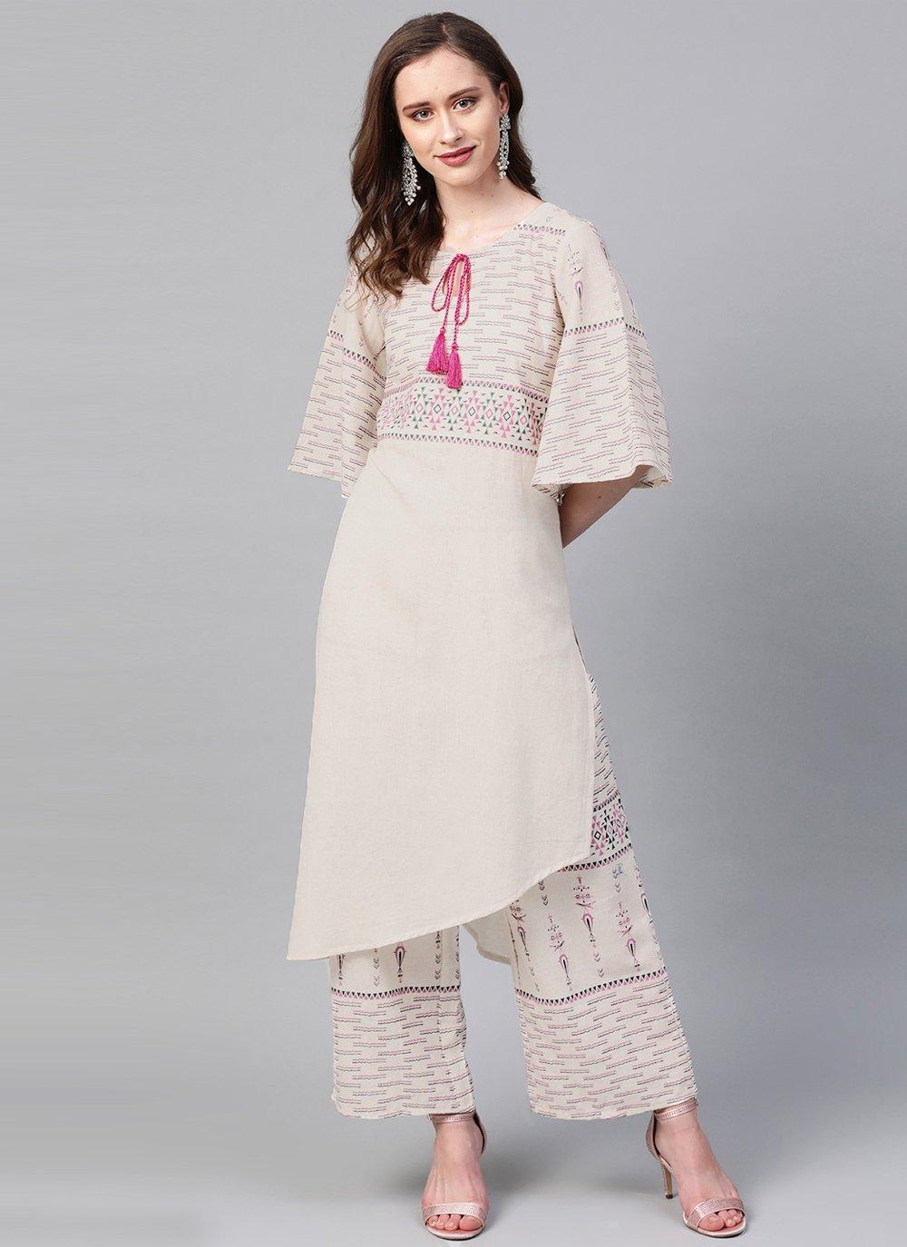 Cream Print Fancy Fabric Designer Kurti