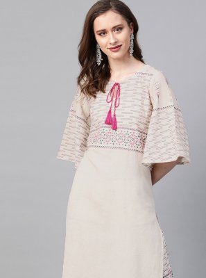 Cream Print Fancy Fabric Designer Kurti