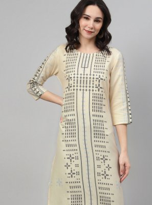 Cream Print Rayon Party Wear Kurti