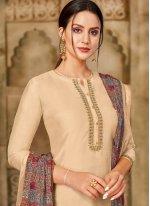 Cream Printed Chanderi Cotton Churidar Suit