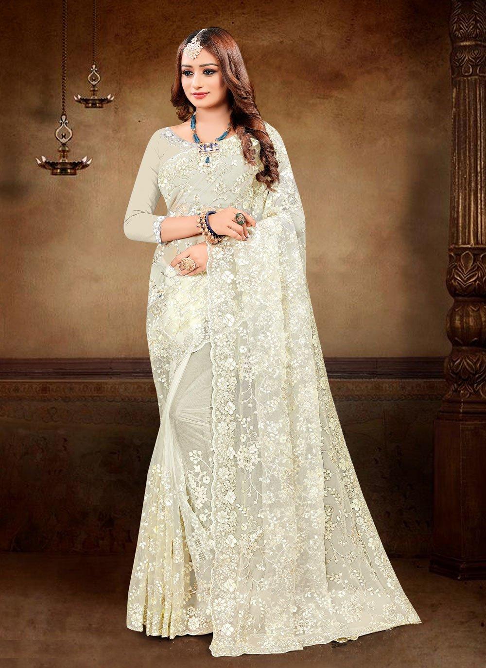 Cream Resham Net Trendy Saree