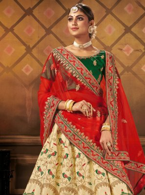 Cream Satin Bollywood Lehenga Choli