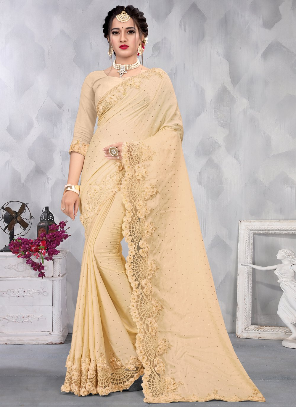 Cream Satin Ceremonial Designer Saree