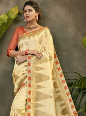 Cream Silk Ceremonial Traditional Designer Saree