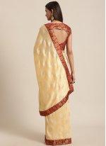 Cream Silk Ceremonial Traditional Saree