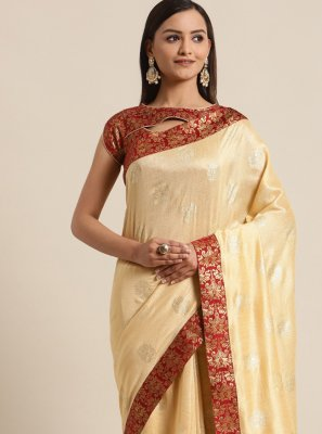 Cream Silk Ceremonial Traditional Saree