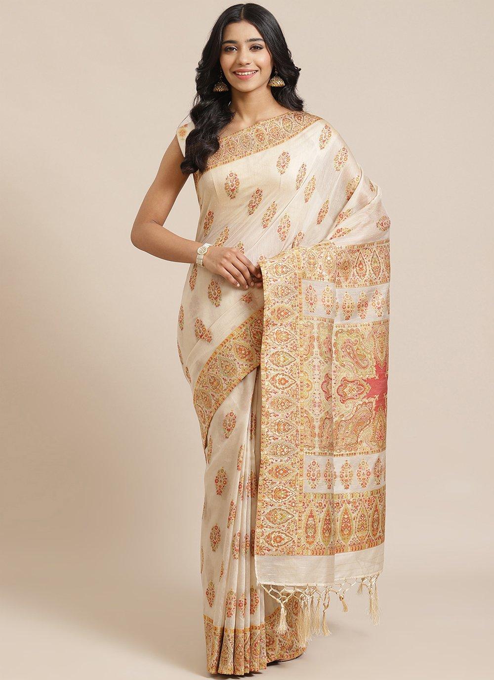 Cream Silk Designer Traditional Saree