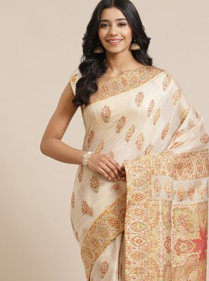 Cream Silk Designer Traditional Saree