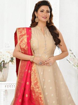 Cream Silk Embroidered Ankle Length Anarkali Salwar Suit