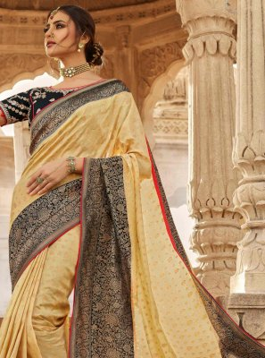 Cream Silk Engagement Traditional Designer Saree