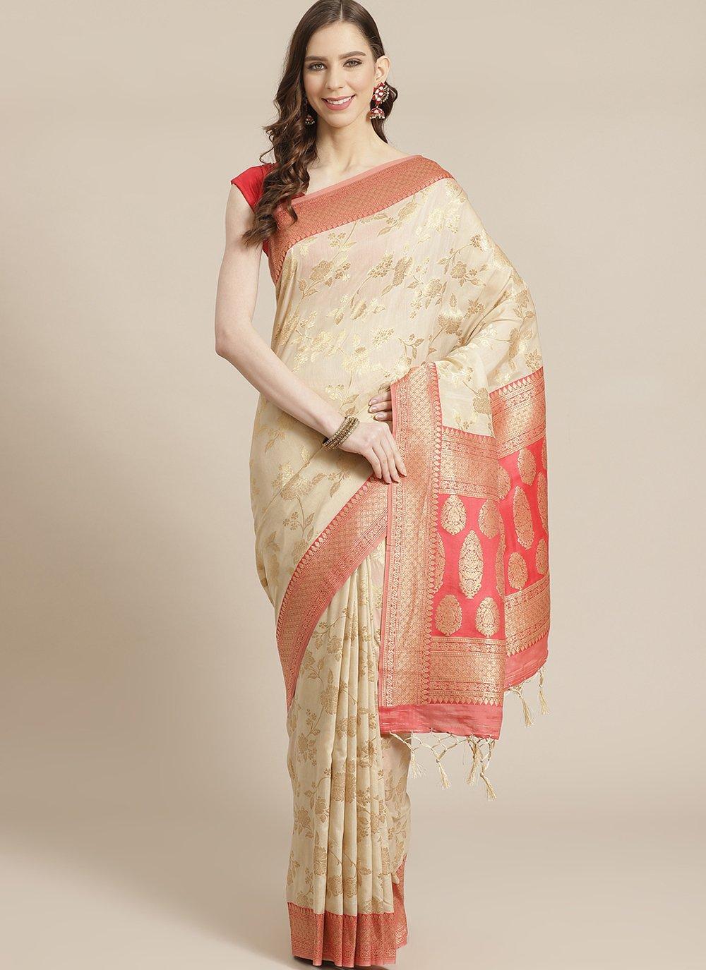 Cream Silk Festival Traditional Designer Saree