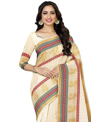 Cream Silk Traditional Designer Saree