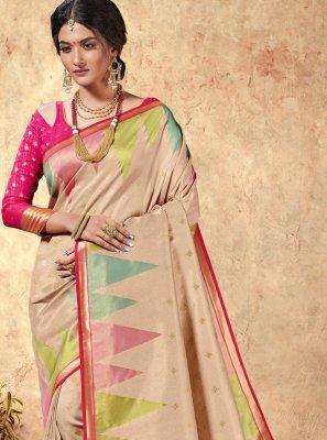 Cream Silk Trendy Saree