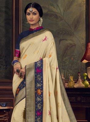 Cream Swarovski Designer Traditional Saree
