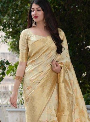 Cream Weaving Art Banarasi Silk Designer Traditional Saree