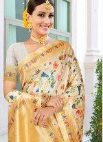 Cream Weaving Ceremonial Traditional Saree