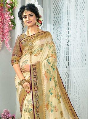 Cream Weaving Traditional Saree