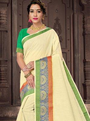 Cream Woven Handloom Cotton Traditional Saree
