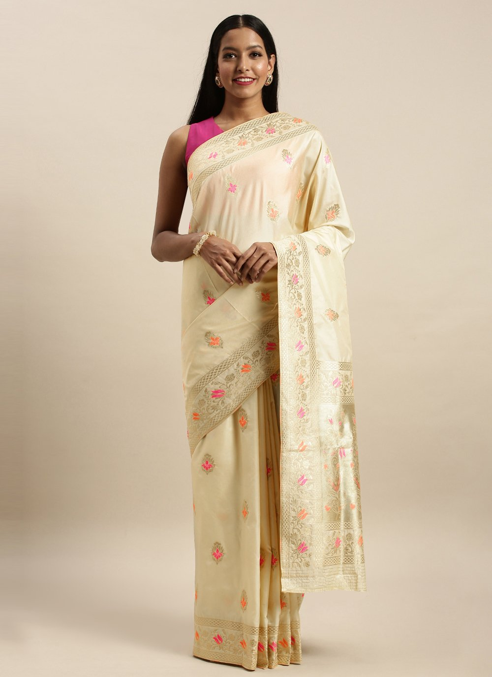 Cream Woven Jacquard Silk Designer Traditional Saree