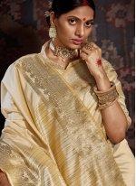 Cream Woven Traditional Designer Saree