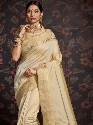 Cream Woven Traditional Designer Saree