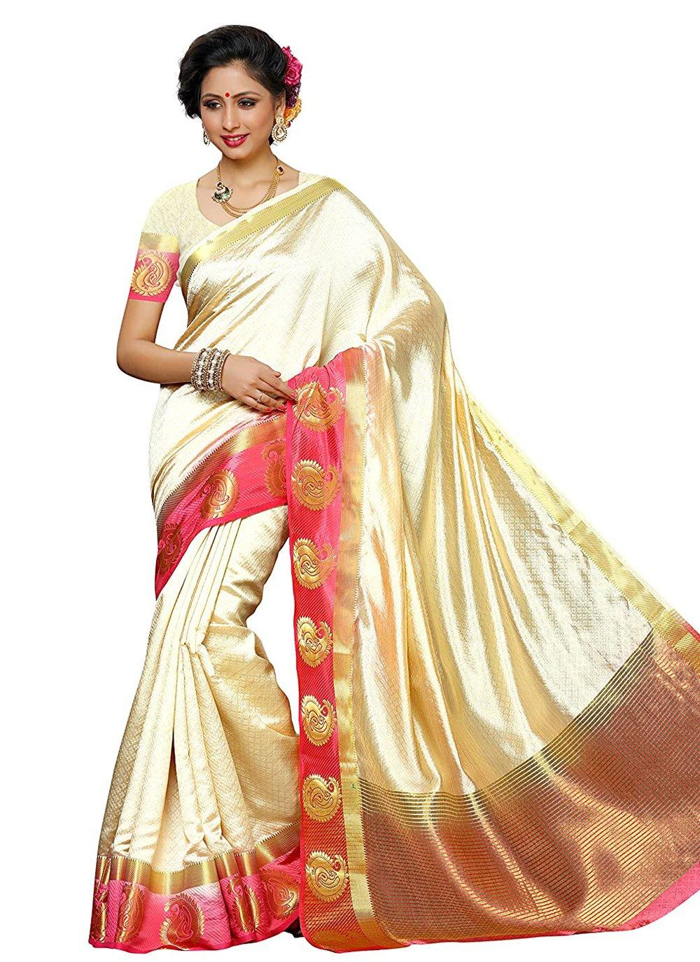 Cream Zari Designer Traditional Saree