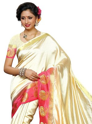 Cream Zari Designer Traditional Saree