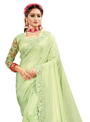 Crepe Silk Green Embroidered Designer Saree