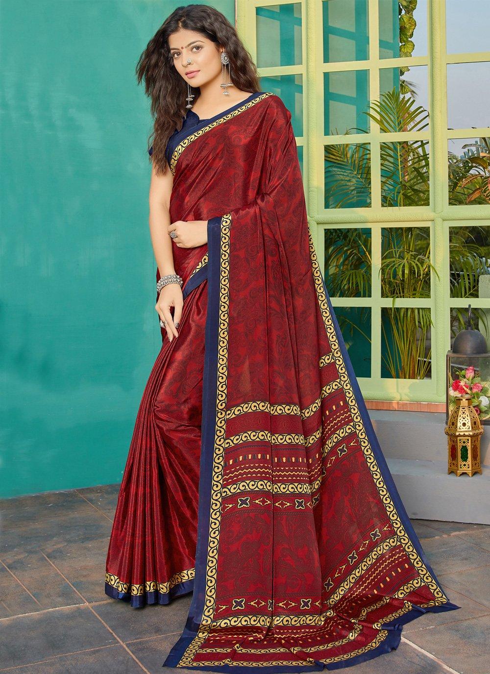 Crepe Silk Maroon Printed Designer Saree