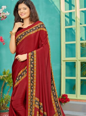 Crepe Silk Maroon Printed Trendy Saree