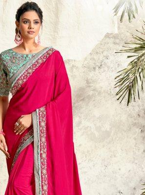 Crepe Silk Patch Border Hot Pink Traditional Saree