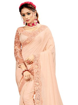 Crepe Silk Peach Embroidered Designer Saree