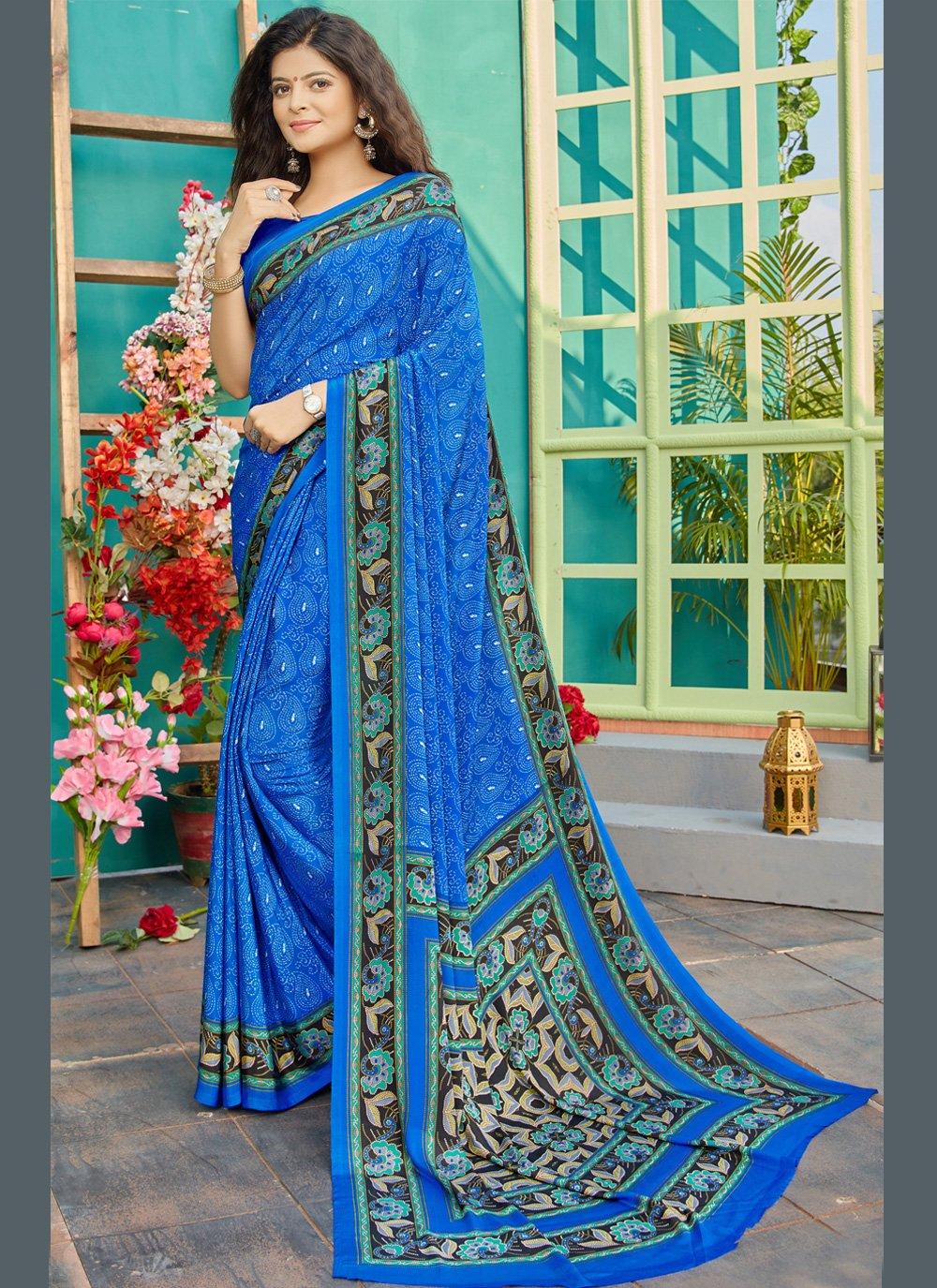 Crepe Silk Printed Bollywood Saree