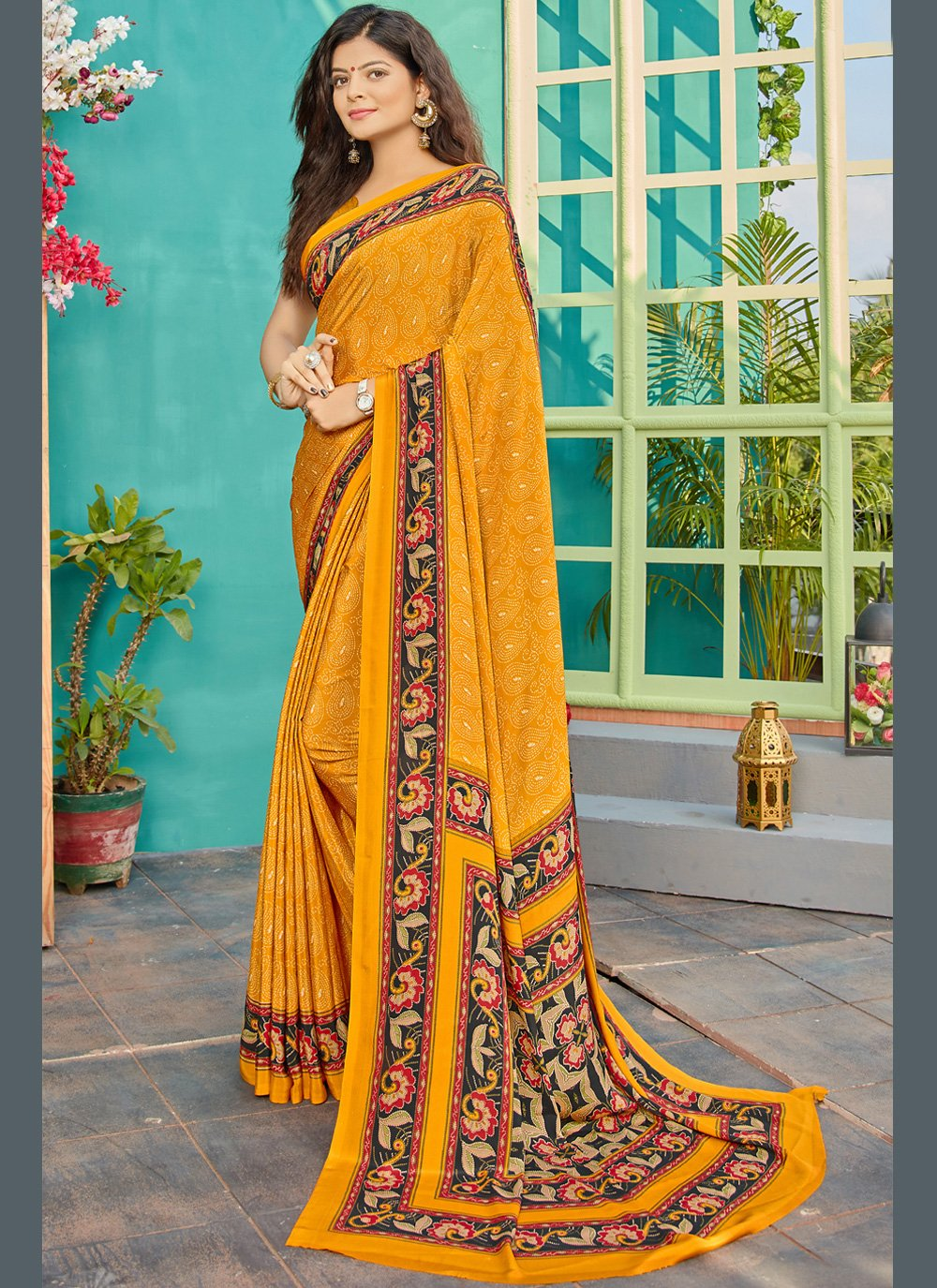 Crepe Silk Printed Contemporary Saree