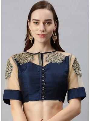 Designer Blouse Embroidered Art Silk in Navy Blue