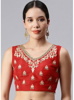 Designer Blouse Embroidered Art Silk in Red
