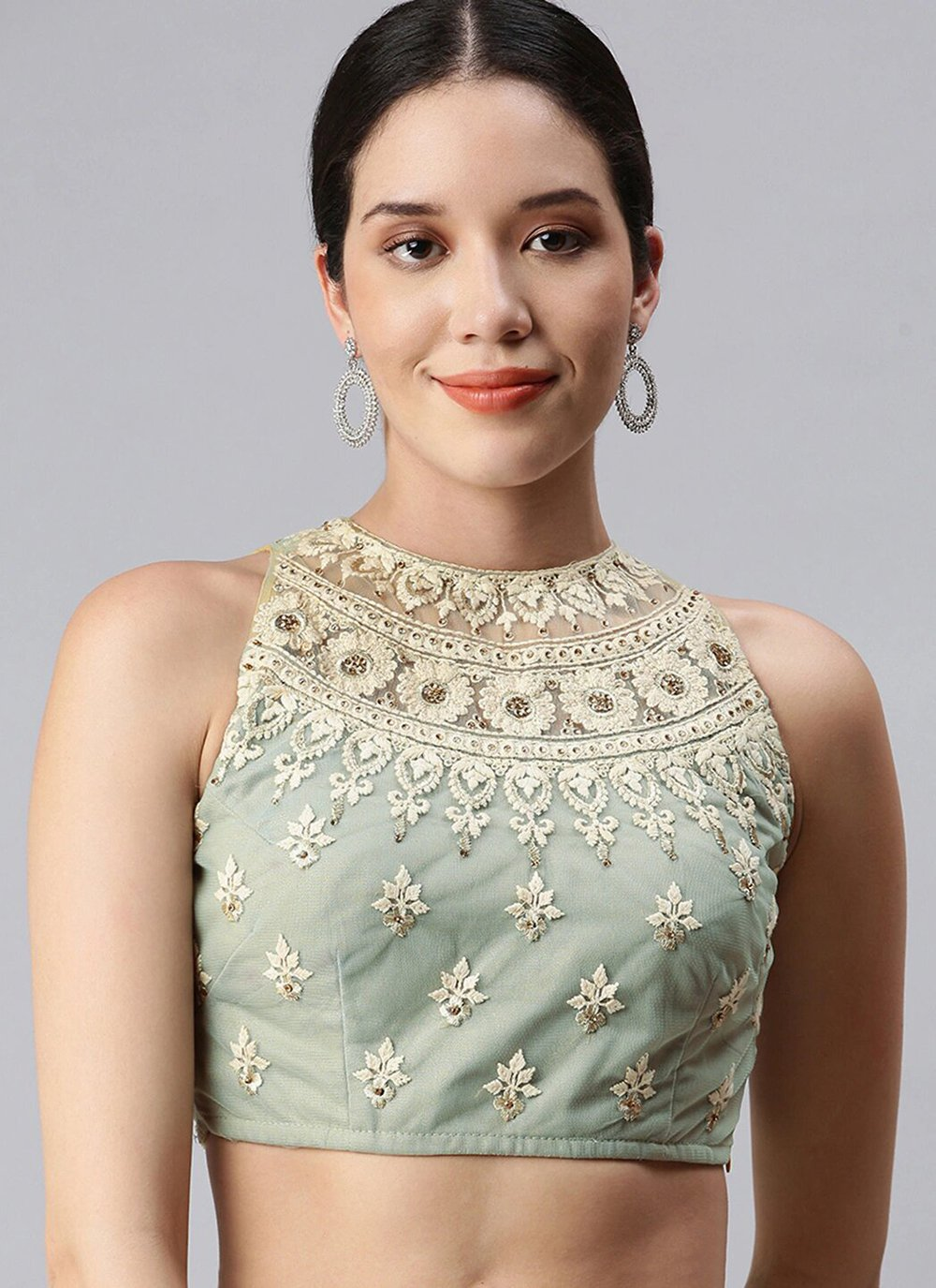 Designer Blouse Embroidered Lycra in Sea Green