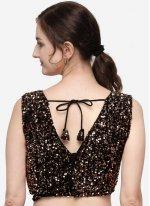 Designer Blouse Sequins Velvet in Brown