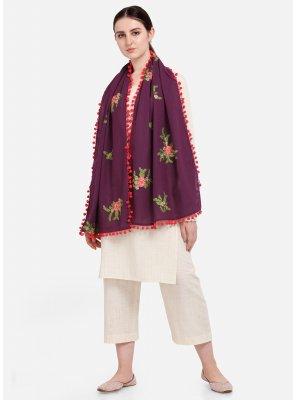 Designer Dupatta Embroidered Cotton in Purple