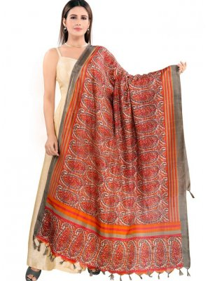 Designer Dupatta Printed Art Silk in Orange