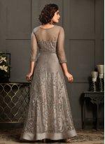 Designer Floor Length Suit Resham Net in Beige