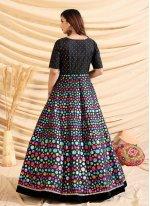 Designer Gown Fancy Tafeta Silk in Black