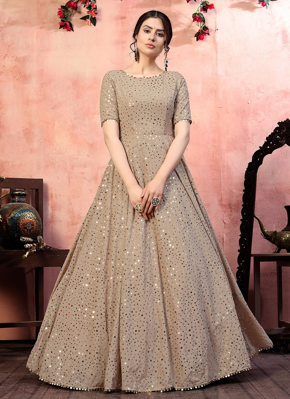Designer Gown Sequins Faux Georgette in Beige