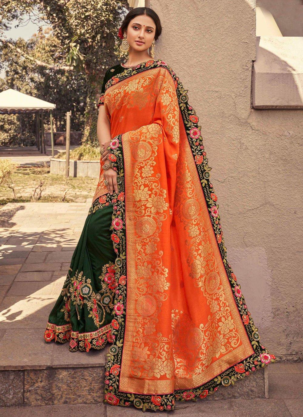 Designer Half N Half Saree Patch Border Fancy Fabric in Green and Orange